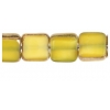 Fire polished 6X6mm Square Yellow Silk Lamp/window Beads